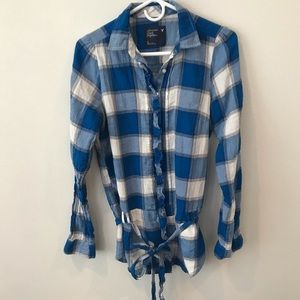 American eagle belted plaid shirt